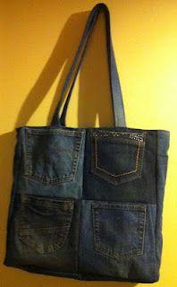 leuk idee om op of in een boodschappentas zakken van oude jeans te herbruiken. Large pocket bag