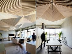 the geometric ceiling of melbourne's assemble studio is comprised of triangular, origami-like folds of timber battens. Decor, Interior, Ceiling Decor, Commercial Interiors, Ceiling, Wood Slat Ceiling, Wood Slats, Lobby Interior, Interior Design