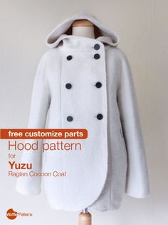 Sewing Clothes Patterns free customised sewing pattern / hood pattern for Yuzu coat / Waffle Patterns sewing patterns - Coat Patterns, Sewing Patterns Free, Free Sewing, Clothing Patterns, Dress Patterns, Hood Pattern Sewing, Sewing Box, Pattern Drafting, Paper Patterns