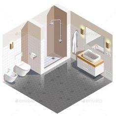 Isometric Apartment Graphics, Designs & Templates (Page Isometric Art, Isometric Design, Sims House Design, Home Room Design, Interior Styling, Interior Design, Interior Architecture, Decoration, Photoshop
