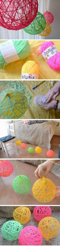 "Yarn Orbs | DIY Spring Room Decor Ideas for Teens | Easy Summer Crafts for Kids to Make [   ""Yarn Orbs DIY Spring Room Decor Ideas for Teens Easy Summer Crafts for Kids to Make"",   ""Create Simple Handing Decorations from Yarn! - DIY Home Decor - DIY Wedding - Party Decorations - Handmade - Yarn - DIY Decorations - Home Decor"",   ""yarn orbs could be combined with fairy lights for a diy light feature"",   ""Check the way to make a special photo charms, and add it into your Pandora bracelets.""…"