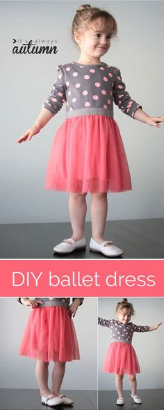 the ballet dress {a simple girls sewing tutorial Add a sweet gathered tulle skirt to a store-bought tee for a ballet-style dress for a little girl. Easy sewing tutorial includes step-by-step photos. Dress Tutorials, Sewing Tutorials, Sewing Projects, Sewing Patterns, Sewing Tips, Sewing Hacks, Sewing For Kids, Baby Sewing, Free Sewing