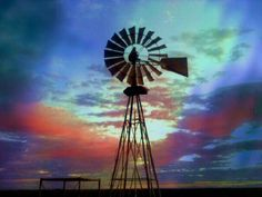 Windpomp colourful sky Beautiful Farm, Beautiful Sunrise, Beautiful Scenery, Country Barns, Old Barns, Country Life, Old Windmills, Wind Of Change, Country Scenes