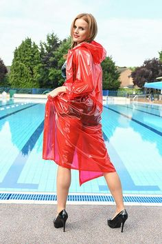 Now re-stocked - Hooded PVC Raincoat glass clear red, the traditional look! Vinyl Raincoat, Mens Raincoat, Pvc Raincoat, Plastic Raincoat, Black Rain Jacket, Rain Jacket Women, Raincoats For Women, Jackets For Women, Leather
