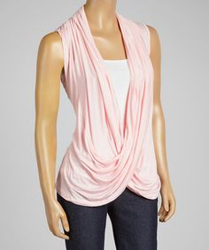 Loving this Pink Lace-Back Drape Top on #zulily! #zulilyfinds