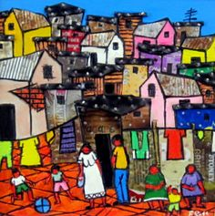 'Cape Township' is an original Mixed Media on Wood artwork by Frank Ross. African American Art, African Art, Wood Artwork, Love Art, Past, Visual Arts, History, Laundry, Live