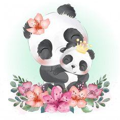 Cute panda mother and baby Vector Premium Baby Animal Drawings, Cute Drawings, Animal Sketches, Cute Panda, Panda Love, Panda Lindo, Watercolor Flower Background, Flower Watercolor, Panda Art
