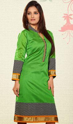 Traditional Green Kora Silk Printed Kurti #Buy-Stylish-Kurtis #Attractive-Kurtis-in-all-colours