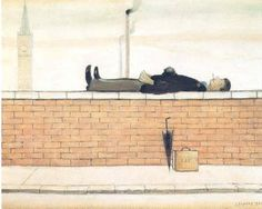 Man Lying On A Wall, 1957 Prints by Laurence Stephen Lowry Oil On Canvas, Canvas Prints, Art Prints, Canvas Art, Framed Prints, Spencer, English Artists, British Artists, Art Uk