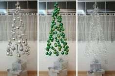 Hanging Mobile Christmas trees..Neat! Great for a store window:)