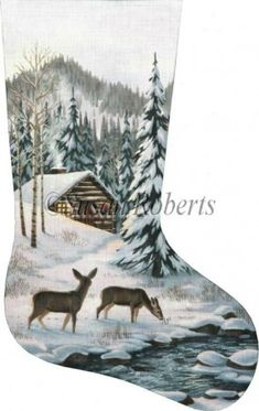 Cabin in the Woods Hand Painted Needlepoint Stocking Canvas, Large Stockings, Cross Stitch Christmas Stockings, Cross Stitch Stocking, Christmas Stocking Pattern, Beaded Christmas Ornaments, Xmas Stockings, Cross Stitch Kits, Christmas Cross, Cross Stitch Patterns, Christmas Ideas