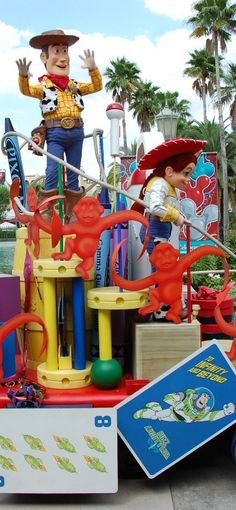 Woody & Jessie on the Toy Story Float in the Block Party Bash Parade (retired in 2011) at Disney's Hollywood Studios / Walt Disney World Resort - Florida. This parade ran from March 14, 2008 – January 1, 2011. #ToyStory