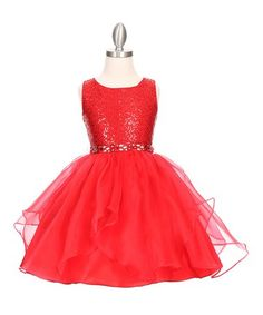 Look what I found on #zulily! Red Sequin Layered-Skirt Fit & Flare Dress - Toddler & Girls #zulilyfinds