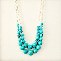Turquoise Strand Necklace by NestPrettyThingsShop on Etsy, $65.00