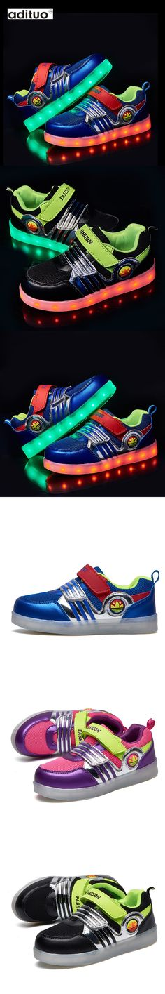 Adituo Children Rechargeable Led Sneakers Lightweight Kids Led Shoes Fashion Weave Sneaker for Boys and Girls Casual Kid Shoes