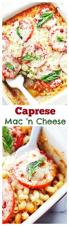 Creamy and delicious Macaroni and Cheese made with a mozzarella cheese-sauce, basil pesto, and fresh tomatoes.