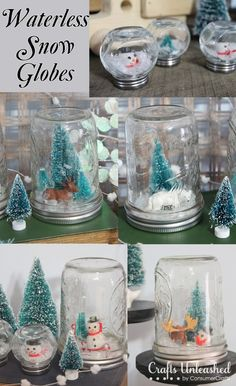 Waterless homemade snow globes Winter DIY Round up Snow Globe Crafts, Diy Snow Globe, Christmas Snow Globes, Christmas Crafts, Christmas Decorations, Kids Christmas, Wedding Decorations, Quick Crafts, Diy Crafts For Gifts