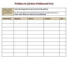 Petitioners Can Use This Printable Petition Form To Gather Names