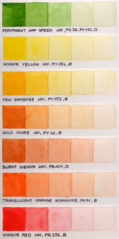 Another pinner: My color chart of Winsor&Newton Professional and Schmincke Horadam watercolors (not every colors, I'm waiting for 11 more to arrive).