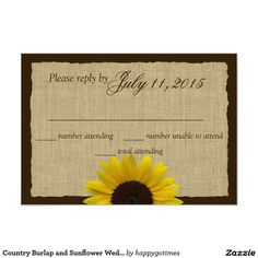 Country Burlap and Sunflower Wedding Response