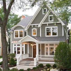 new Ideas house design exterior colors white trim Exterior Siding Colors, House Exterior Color Schemes, Exterior Paint Colors For House, Paint Colors For Home, Exterior Design, Gray Exterior, Gray Siding, Paint For House, Diy Exterior House Painting