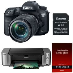 Canon 7D Mark II EF-S 18-135mm f/3.5-5.6 IS USM WiFi Adapter Kit + Canon Printer