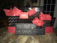 5 senses gift with little gift hints in the envelopes
