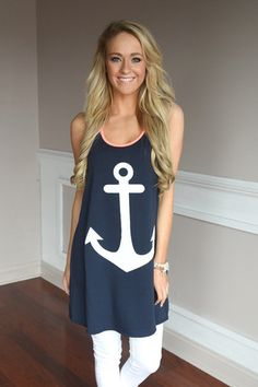 Anchor Tank Top ~ Coral