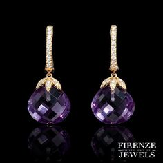 Beautiful, deep purple for your date night outfit.  These marvelous 18k rose gold earrings feature 2 purple amethyst stones and .20 ct of round brilliant cut white diamonds. #FIRENZEJEWELS style 7151