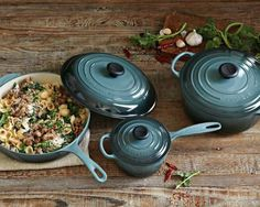 that pasta dish looks amazing. Le Creuset Signature Cookware Set with Book, Marseille Blue Cocotte Le Creuset, Le Creuset Cookware, Cookware Set, Enamel Cookware, Kitchen Items, Kitchen Dining, Kitchen Decor, Kitchen Products, Kitchen Utensils