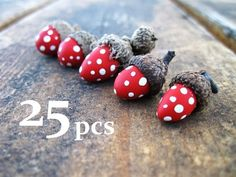 Set of 25 Toadstool Mushroom Acorn Ornaments, Vase Fillers, Cake Toppers: bulk, wholesale. $25.00, via Etsy.