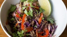 Ground beef and shredded vegetables are dressed in a soy sauce and sesame oil dressing creating an addictive Asian salad called crack slaw!