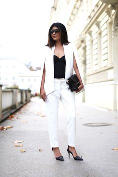 fashion white slip cape blazer worn with a pants. Great outfit style that you can even pair with jeans, skirt or a dress