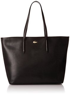 Lacoste Womens Chantaco Medium Tote Shoulder Bag Black One Size   Check out  the image by 490331fb945cb