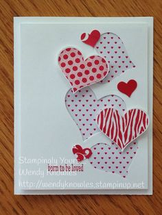 "This card was ""born to be loved""!  Groovy Love, Sweetheart Punch, Mini Treat Bag Dies (middle), Itty Bitty Accents Punch Pack, Stacked with Love DSP pack."