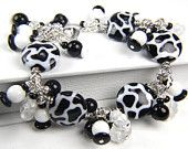 Handmade Black and White Lampwork and Czech Glass Bracelet: A Day at the Texas State Fair
