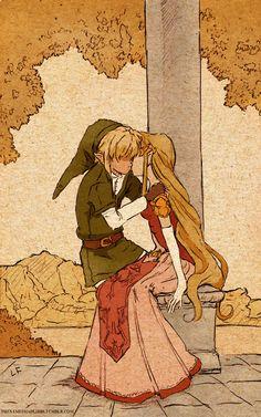 Link & Zelda, The Legend of Zelda artwork by Libby.