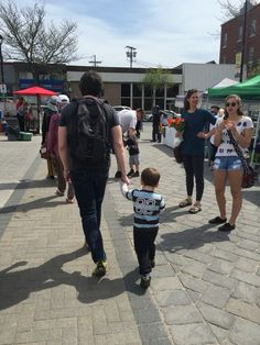 Daddy and toddler at the market