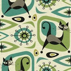 Mid Century Cat Abstract - Teal and Lime custom fabric by studioxtine for sale on Spoonflower Vintage Bathroom Vanities, Cat Fabric, Textile Patterns, Textiles, Mid Century Style, Surface Design, Custom Fabric, Spoonflower, Craft Projects