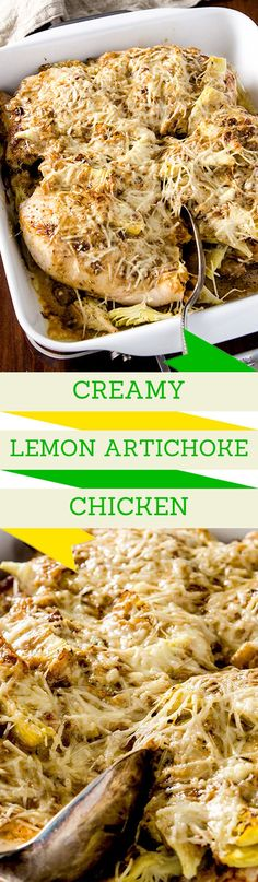I love when a recipe is both creamy AND light.  This lemon artichoke chicken recipe satisfies the soul with its luscious creamy onion, garlic and lemon sauce.