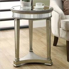 """Monarch 20"""" Diameter Accent Table in Mirrored finish - I 3705 - Lowest price online on all Monarch 20"""" Diameter Accent Table in Mirrored finish - I 3705"""