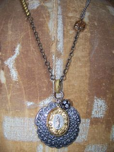 Mother Mary Gold Locket Necklace by BelleVia on Etsy, $52.00