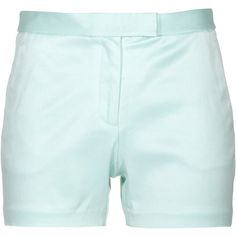 T By Alexander Wang Turquoise Resort Short Stretch Sateen Shorts ($305) ❤ liked on Polyvore