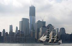 NYC 2012 Fleet Week Parade, tall ship from Brazil Cisne Bianco, pass WTC