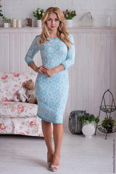"""Купить Платье """"Голубая мечта"""" - голубой, вязаное платье, цветочный, нарядное платье, голубое платье"""