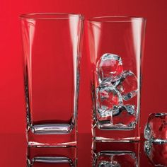 Home Essentials Red Series 16 Oz. Square Highball Glasses Cups, Set of 4 * Continue to the product at the image link.