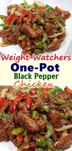OnePot Black Pepper Chicken 112 pounds boneless skinless chicken breasts cut into cubes 1 red bell pepper seeded and cut into strips 112 teaspoons freshly ground black pe. Skinny Recipes, Ww Recipes, Cooker Recipes, Asian Recipes, Dinner Recipes, Healthy Recipes, Snacks Recipes, Waffle Recipes, Burger Recipes