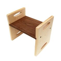 Modern Kids Step Stool - organic Maple and Walnut stool with carrying handles (by littlesaplingtoys on etsy) - My DIY Tips