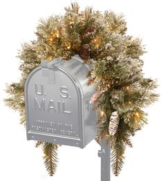 National Tree GB1-300-3MB-B 3' Glittery Bristle Pine Mailbox Swag with 9 White Tipped Cones and 35 Warm White Battery Operated LED Lights with Timer