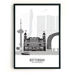Poster Rotterdam zwart-wit-grijs
